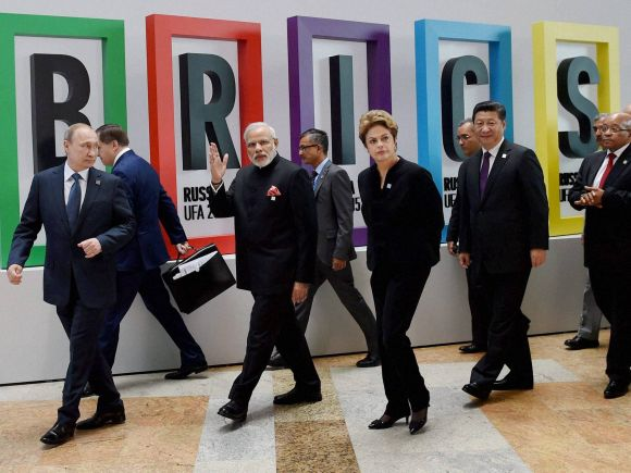 Narendra Modi, Russia, Ufa, India, BRICS, Summit, Russian President, Vladimir Putin, Brazilian President, Dilma Rousseff, Chinese President, Xi Jinping, South African President, Jacob Zuma