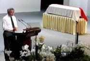 Singapore's Prime Minister Lee Hsien Loong, delivers his eulogy during a state funeral of the late Lee Kuan Yew,