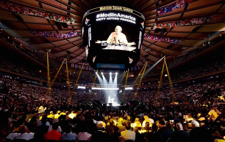 screen, displays, Prime Minister, Narendra Modi, addressing, audience, reception, organised, honour, Indian American Community Foundation, Madison Square Garden,  New York