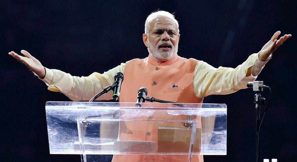 Prime Minister, Narendra Modi, gestures, addressing, audience, reception, Indian American Community Foundation, Madison Square Garden, New York