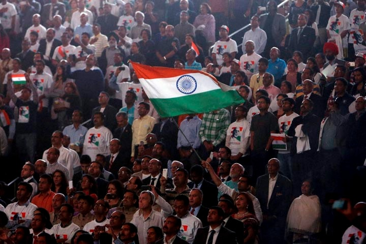 Supporters, wave, Indian flag, Prime Minister, Narendra Modi, prepares, reception, organised, honour, Indian American Community Foundation, Madison Square Garden,  New York