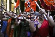 Artists perform during a reception organised in the honour of Prime Minister Narendra Modi