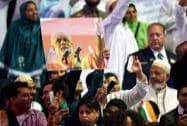 Supporters during a reception organised in the honour of Prime Minister Narendra Modi