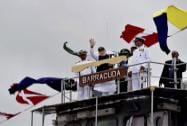 Prime Minister Narendra Modi  waves after Commissioning of Offshore Patrol Vessel Barracuda in Port Louis