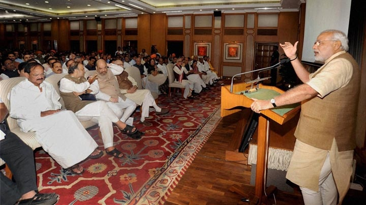 Prime Minister, Narendra Modi, addresses, NDA, MP's, tea party, hosted,