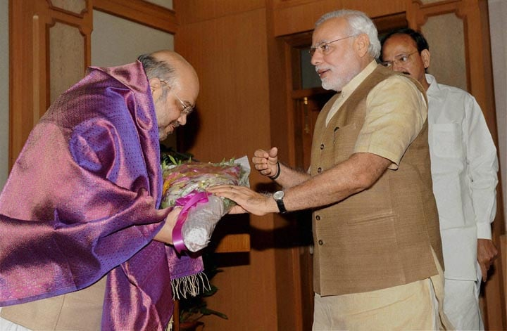 Prime Minister, Narendra Modi, felicitates, BJP, President, Amit Shah,High tea, hosted, NDA, MP's