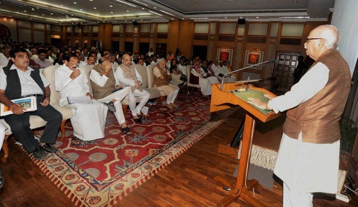 Senior, BJP, leader, L K Advani, addresses, NDA, MP's, High tea, hosted, Prime Minister, Narendra Modi