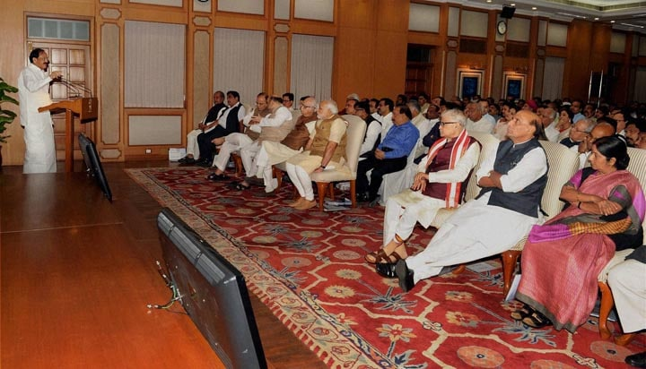 Union minister, Venkaiah Naidu, addresses, NDA, MP's, High tea, hosted, Prime Minister, Narendra Modi