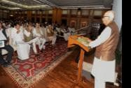 Senior BJP leader L K Advani addresses NDA MP's