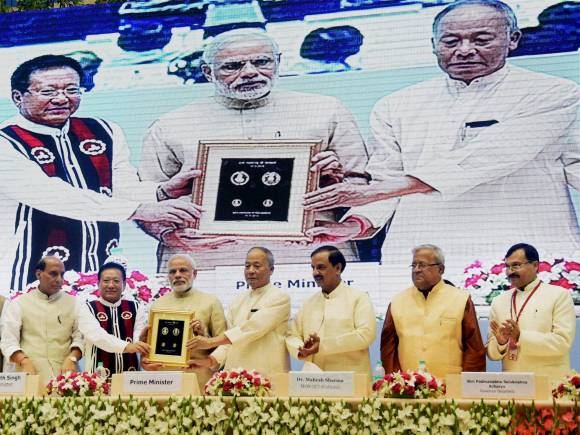 Prime Minister of india, Narendra Modi, Manipur Chief Minister, O Ibobi Singh, Nagaland Chief Minister, T.R. Zeliang