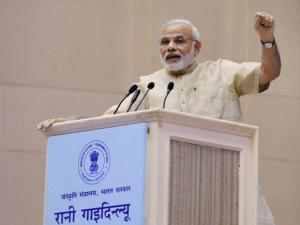 Narendra Modi speaks during the inaugural function of the birth centenary of Rani Gaidinliu