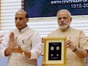 Prime Minister Narendra Modi with Union Home Minister Rajnath Singh and Finance Minister Arun Jaitley