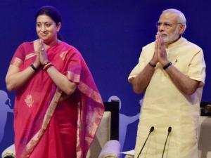 Prime Minister Narendra Modi and HRD Minister Smriti Irani