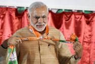 Prime Minister Narendra Modi during the launch of Bharatiya Janata Party's (BJP) membership drive at party headquarters
