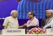 Narendra Modi with J&K Deputy Chief Minister Nirmal Singh and Haryana CM M L Khattar