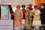 "Prime Minister Narendra Modi with Rajasthan CM Vasundhara Raje and Punjab CM Prakash Singh Badal launches"" Soil Health Card"" scheme"