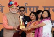 "Prime Minister Narendra Modi with Rajasthan CM Vasundhara Raje  launches"" Soil Health Card"" scheme"