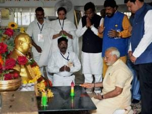 Prime Minister, Narendra Modi paying respects to Babasaheb Ambedkar during visit at Chaitya Bhoomi
