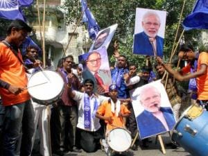 RPI Party workers celebrate Indu mill smaral bhumipoojan by Prime Minister Narendra Modi at Chaitya bhoomi
