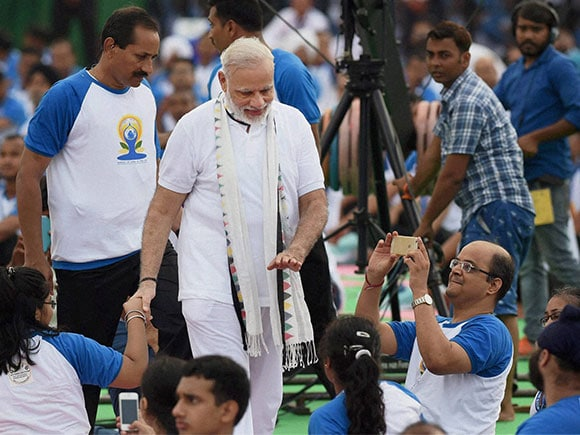 Modi, Narendra Modi, International Day of Yoga, Yoga Camp, Pranab Mukherjee, President of India