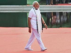 Prime Minister Narendra Modi arrives for the 2nd International Day of Yoga