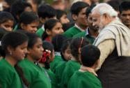 PM Modi meeting with visually challenged children on the occasion of Mahatma Gandhi's death anniversary