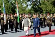 Prime Minister Narendra Modi with Uzbekistan's President Islam Karimov