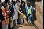Prime Minister Narendra Modi during a cleanliness drive