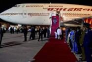 Prime Minister Narendra Modi arrives at the airport in Colombo