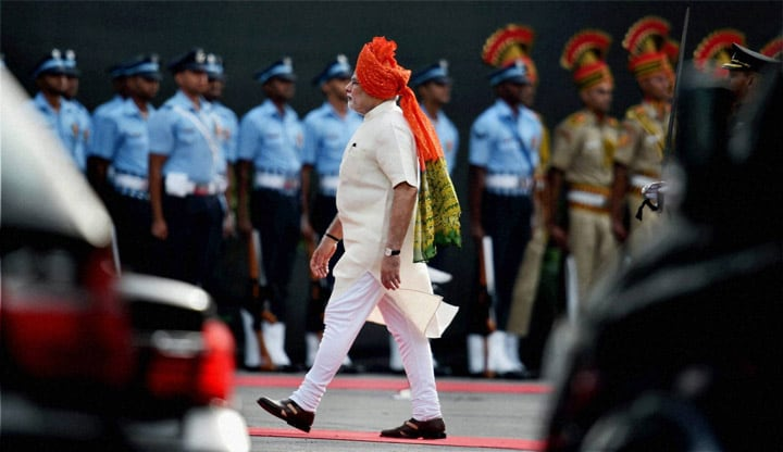 Prime Minister, Narendra Modi, gestures, addressing, nation, 68th Independence Day function, Red Fort