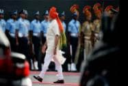 Prime Minister Narendra Modi inspects the gaurd of honour at the historic Red Fort