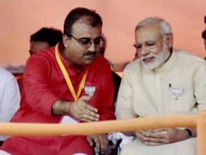 Prime Minister Narendra Modi with Bihar BJP President Mangal Pandey