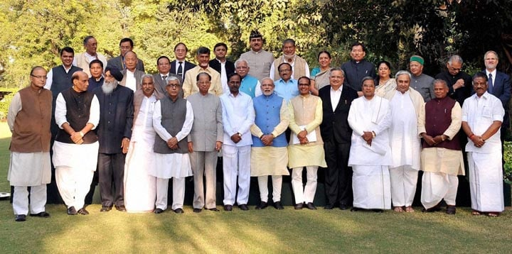 Narendra Modi, Prime Minister of India, Rajnath Singh, Union Home Minister of india, Arun Jaitley, Union Finance Minister of India, Chief Ministers of india