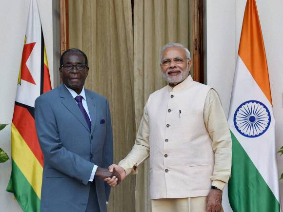 Zimbabwe President, Robert Mugabe, Prime Minister of India, Narendra Modi, Hyderabad House