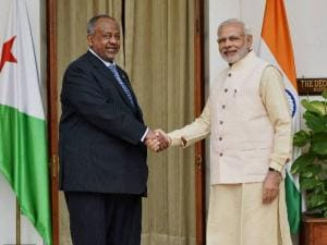 Prime Minister Narendra Modi shakes hands with President of Djibouti, Ismail Omar Guelleh before a meeting at Hyderabad House in New Delhi