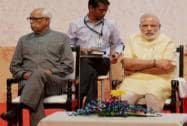 Narendra Modi with Arun Jaitley, NN Vohra