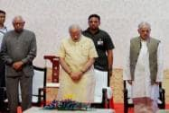 Narendra Modi with Arun Jaitley, NN Vohra and Mufti Mohammed Sayeed