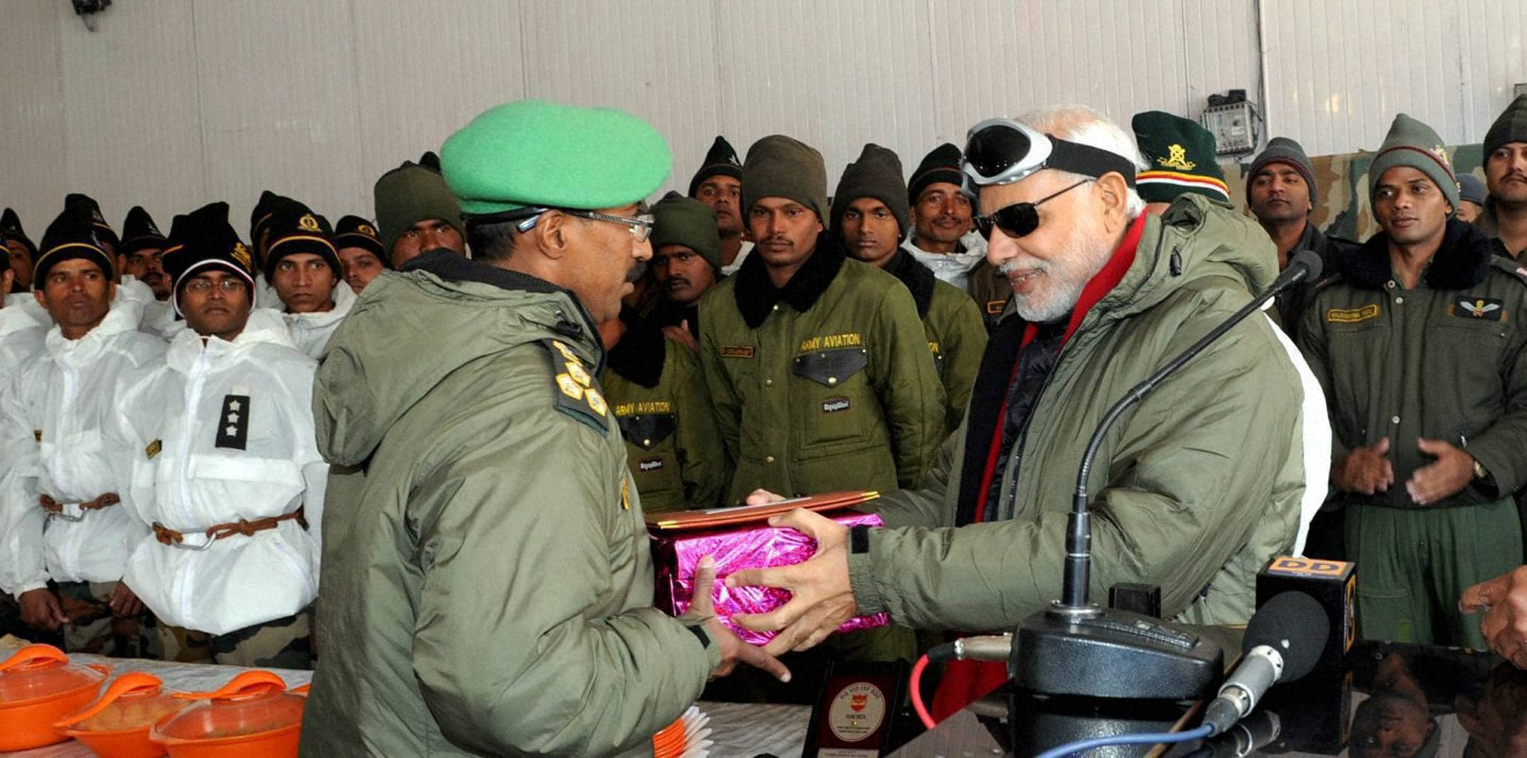 Prime Minister, Narendra Modi, exchanging, Diwali gifts, Officers, Jawans, Indian Armed Forces, visit, Siachen, occasion, Diwali