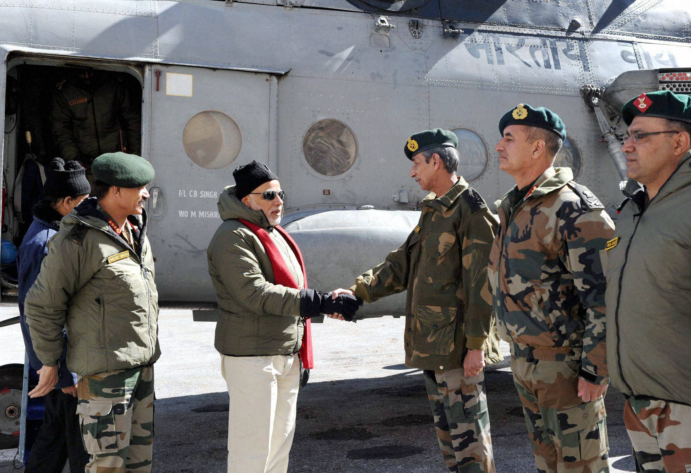 Prime Minister, Narendra Modi, received, arrival, Siachen Base Camp