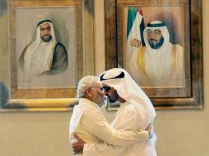 Narendra Modi with the Crown Prince of Abu Dhabi, Sheikh Mohammed bin Zayed Al Nahyan