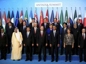 World leaders pose for a family photo at the G-20 summit