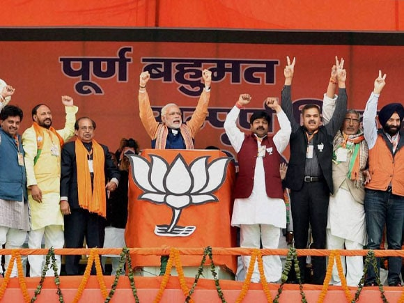 Prime Minister of India, Narendra  Modi, BJP CM Candidate,  Kiran Bedi, BJP president  of India, Amit Shah, Delhi BJP president of India, Satish Upadhyay