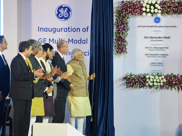 Prime Minister of india,  Narendra Modi, Vice Chairman of GE, John Rice, Maharashtra Chief Minister, Devendra Fadnavis, Manufacturing Facility, General Electric, Multi-Modal Manufacturing Facility, GE, Facility, Chakan, Pune
