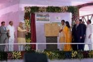 Prime Minister Narendra Modi laying foundation stone for a Centre of Excellence for Vegetable Production in Baramati,