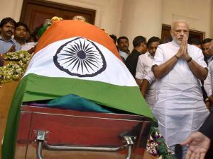 Prime Minister Narendra Modi arrives to pay his last respects to Tamil Nadu's former Chief Minister Jayaram Jayalalithaa