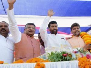 LJP President Ramvilas Paswan with BJP leader Ravi Shankar Prasad
