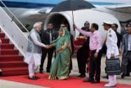 Prime Minister Narendra Modi shakes hands with  Bangladeshi counterpart  Sheikh Hasina