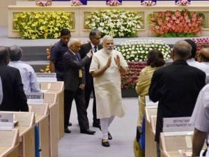Narendra Modi arrives to address a national meet