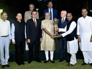 Narendra Modi and others unveils BRICS U-17 Football Tournament – 2016 Trophy