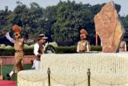 Union Home Minister Rajnath Singh laying wreath at the Police Memorial